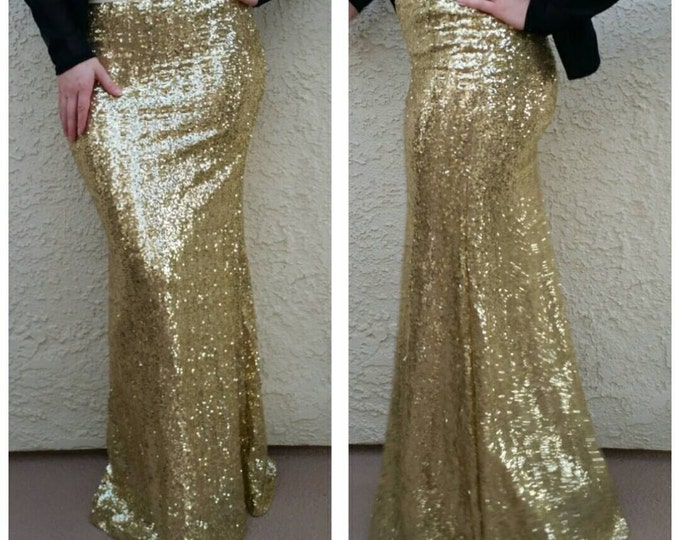 SALE til 11/23 Small Only Left - True Gold Maxi - Gorgeous high quality sequins- Long sequined skirt - S, M, L, XL (Handmade in LA!)