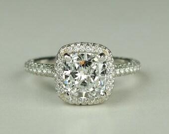 ON SALE GIA Certified Platinum Diamond Cushion Cut Engagement Ring