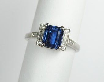 ON SALE Art Deco Emerald Cut 2.65 carat Sapphire and Diamond Ring