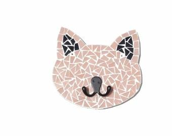 Cat Wall Hook, Mosaic Cat, Wall Decor, Leash Holder, Key Holder, Girls Room Decor, Crazy Cat Lady, Pink Cat Decor
