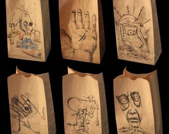 Snack SaK 6paK | Drawn Series | Designer brown paper lunch bags art novelty party supplies office food storage container kitchen gag gift