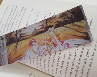 Pretty Manga Girls Bookmark, Illustrated Fantasy Bookmark, Autumn Fairytales, 2x6