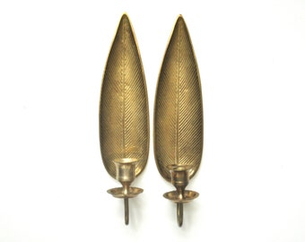 Brass Leaf or Feather Wall Sconces