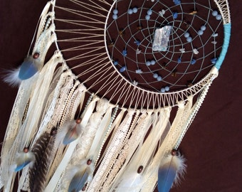Elegant Moon Dream Catcher- Beautiful Lace Beaded Dream Catcher with a Shabby Chic Vibe