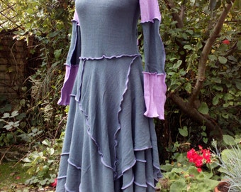 Charcoal Black and Purple Long Dress