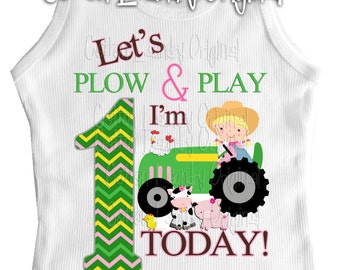 First 1st, 2nd or beyond birthday shirt - let's Plow and Play i'm one today [or beyond] Farm Birthday tee shirt | Farm | Old McDonald