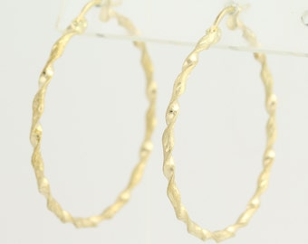 Textured Hoop Earrings - 10k Yellow Gold Twist Etched Matte Pierced L9158