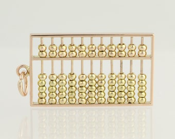 Large Abacus Pendant Charm - 14k Yellow Gold Ancient Math Moving Parts N922