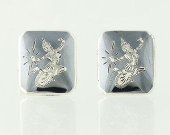 Siam Silver Cufflinks - Sterling Niello Asian Goddess Lightning Mekkala Vintage Q5139