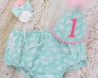 Baby Girls First Birthday Cake Smash Set with Diaper Cover Detailed Necklace and Party Hat in Mint and Pink Butterflies