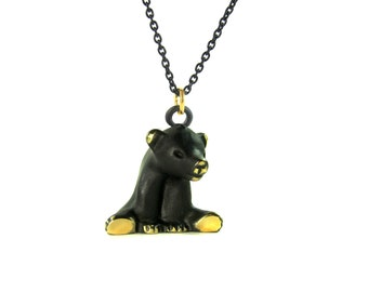 "Sitting Bear Pendant - Large - Walter Bosse ""Black Gold"" Bronze Necklace - 26"" Chain"