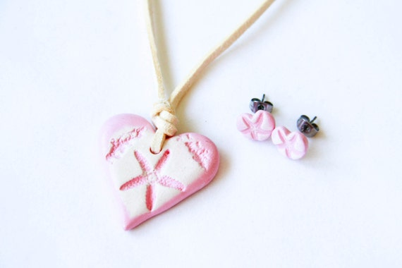 Pink Starfish Bridesmaids Set of Necklace and Earrings