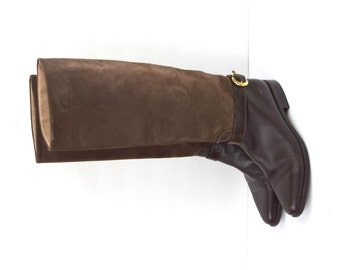 Vintage Italian brown leather and suede riding boots with buckle detail