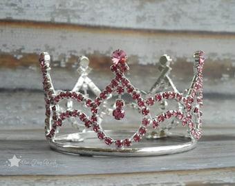 Baby Crown headband, silver crown, pink crown, princess crown, rhinestone crown, infant crown headband, newborn crown headband, infant tiara