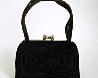 Vintage Black Cloth Purse Spiral Cording 1940's