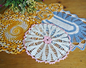 4 Doilies Doily Crocheted Doily Orange Blue Pink White Vintage Doilies  D18