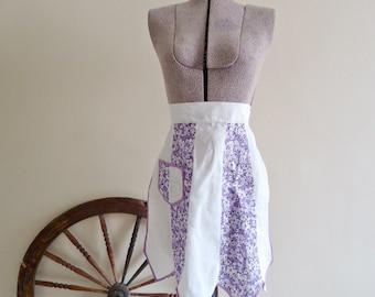 Apron Vintage Aprons Half Apron Violet Floral 1960's