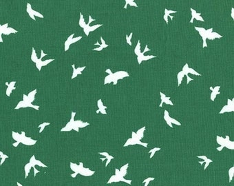 Fabric by the Yard- Flight in Green-Christmas at Brambleberry Ridge by Violet Craft for Micheal Miller