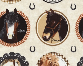Fabric by the Yard- Horse Portraits from Timeless Treasures