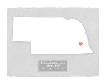 NEBRASKA - Personalized art print Home decor - Custom text Wedding gift Bridal shower gift Housewarming gift  Larger for wedding guest book