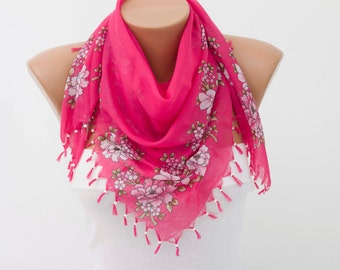 Fringed  scarf ,square tassel scarf , guipure scarf, flowered ,woman scarf,white ,floral,pink ,rose
