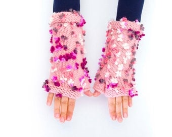Knitted  fingerless gloves pink flowered  -  COLOR OPTION AVAILABLE