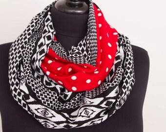 SALE Infinity scarf,Loop scarf,   patchwork  scarf