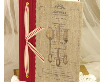 French recipes book note book organizer recipies Menu linen