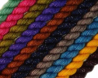 SALE glitter sock yarn MINI SKEIN set hand dyed fingering weight superwash merino nylon stellina