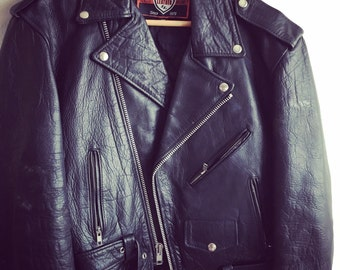 Black leather biker / Rocker jacket