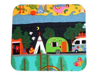 Mouse Pad - Fabric mousepad - Camping teepee fire campers - Home office / computer = Alexander Henry