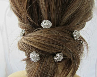 Rose Rhinestone Bobby Pins, Rhinestone Rose Bobby Pins, Bridesmaid Hair Pins, British Seller UK,  Bridal Hair Pins, Silver Rose Bobby Pins