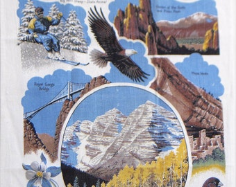 Dish cloth, Colorado Souvenir dishcloth, bald eagle, aspen trees, bunting, Royal Gorge