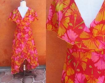 Vintage Sheer Floral 1970s Wraparound Wrap swing Dress. Red Pink Orange Yellow. Boho bohemian Gypsy hippie festival