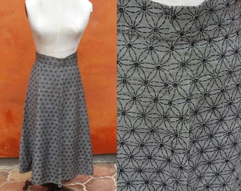 Vintage 1940s 1950s Black Grey Beaded Skirt. Floral Spiderweb Black sequins.