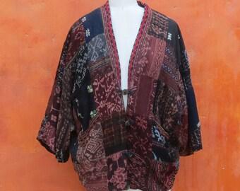 Vintage 1990s Ethnic Patchwork Slouch Batwing Coat Jacket. Gypsy boho Bohemian Hippie Festival Tapestry. Brown Black Tan Earthtones