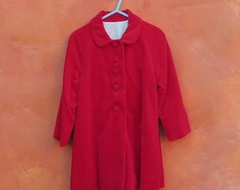 Vintage 1950s 1960s Girl's Red Velvet Swing Coat. 2T 3T. Christmas Holiday Jacket
