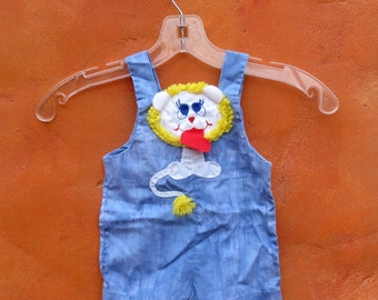 Vintage Baby Infant Red White Blue Yellowl Onesie Jumper Romper Overalls. Lion Animal Applique 12 months. Leo zoo circus summer