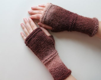 Autumn Trend / Hand Knit Fingerless Gloves / Medium size fits most. / Brown / Winter Fashion/ Arm Warmes
