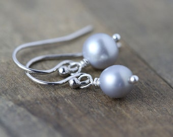 SALE - Simple Sterling Silver Gray Pearl Earrings - Wedding Bridal Jewelry - Bridesmaids Gift - Womens Jewelry Gift for Her
