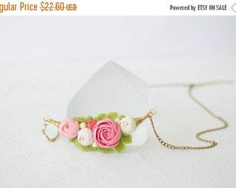 Christmas SALE Pink White Rose Ranunculus Pendant Medaliion Necklace Wholesale Handmade Women Gift Accessory Jewelry Birthday Wedding Bridal