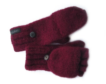 SALE - convertible mittens, wool mittens, felted mittens, size S