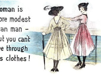 Old Postcard Risque Women See-Thru Dresses Early 1900's Scrapbooking Cards Tags Ephemera Digital Arts Instant Download Paper Art