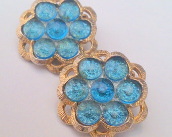 Vintage Gold Tone Blue Rhinestone Cluster Clip Earrings