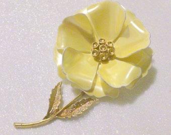 Gold Tone Yellow Enamel Flower Brooch