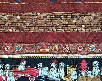 Fire Truck Patchwork Quilted Blanket, Firefighter Baby Blanket, Dalmatian Dogs Patchwork Quilt, Fire Patchwork Blanket
