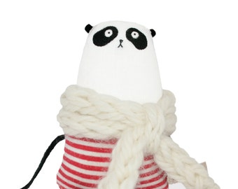 Miniature Panda Soft Sculpture, OOAK Handmade Art Doll, Tiny Panda Teddy Bear, Artist Bear Stuffed Animal, One-of-a-kind Bear