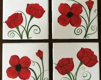 Set of 4 Hand Painted Ceramic Tile Coaster - Poppies