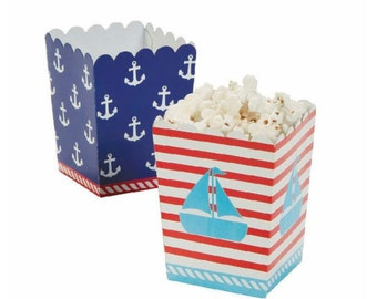 Nautical Popcorn Boxes Set of 12 Sailor Boxes 1st Birthday Red White Blue