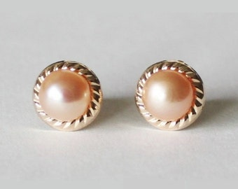 Genuine peach pearl studs in gold, Peach pearl earrings, 14K gold filled post earring, Bridesmaid earrings, Champagne pearl studs, Vintage